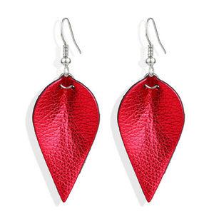 Women's Leather Earrings Boho Leaf Teardrop red